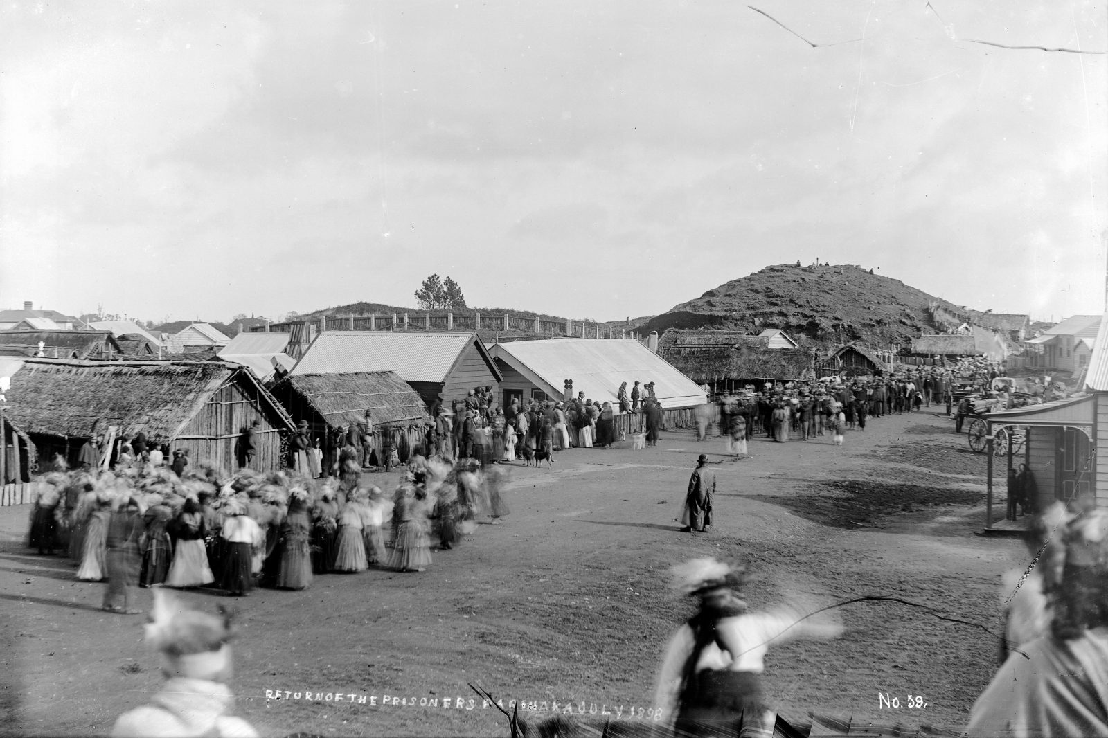 "Poi-swinging women greet a group of Parihaka men returning from imprisonment for ploughing disputed land—their protest at the injustice of confiscation. As they ploughed, the men chanted a song containing the words: ""I am cast upon a righteous path to be the fuel upon the fire"". Te Whiti, they claimed, ""will have the final word""."