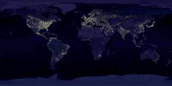 The world never sleeps. This image, compiled by NASA from more than 400 satellite images, shows metropolitan centres lit up like a Christmas tree—even in New Zealand. While the light is largely the result of reflected streetlighting, a quarter of workers in developed nations work nightshift.